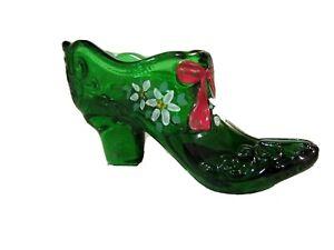Mosser Glass Hunter Green Handpainted Poinsettias Slipper, new