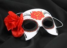 DIA DE LOS MUERTOS Day of the Dead Half FEMALE Eye Mask with Flower Rose