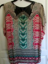 Style & Co Short Split Sleeve Pink Tan Green Embellished Top Blouse Size XL