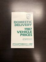 1987 Porsche Domestic Delivery Vehicle Prices Brochure US Sales Catalog