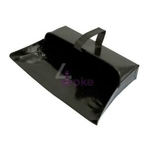 Heavy Duty Metal Dust Pan Quality Hooded Dustpan Fixed Handle Garden Tool 32 cm