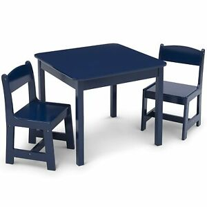 Delta Children MySize Kids Wood Table and Chair Set Two Chairs Deep Blue