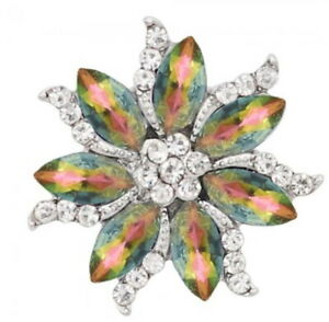 Blue Green Iridescent Rhinestone Flower 20mm Snap Charm For Ginger Snaps Jewelry