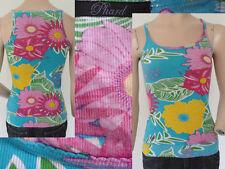 Phard Top Shirt Girl Sommer Spagettiträger Gerippt Blumenmuster Bunt S 1A