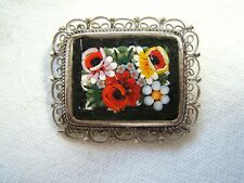 VINTAGE MICRO MOSAIC PIN ITALY WITH FILIGREE