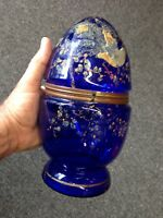 Antique Decanter Egg Cobalt Blue Enameled As-Is Brass Trim Display