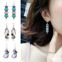 Boho 925 Silver Turquoise Dangle Drop Hook Earring Women Retro Jewelry Gift