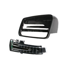 Left Black Wing Mirror Cover+Turn Signal Light For Benz W204 W212 W246 CLA250