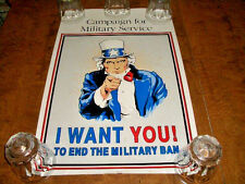 """CAMPAIGN FOR MILITARY SERVICE-I WANT YOU !! POSTER - SIZE 14"""" X 22"""" - VG COND."""