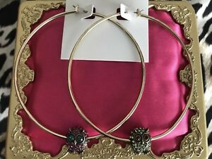 Betsey Johnson Blast HUGE Gold Hoop Mismatch Pink & Green Crystal Owl Earrings