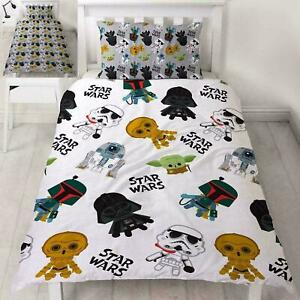 Star Wars Minis Single Duvet Cover and Pillowcase Set Kids Bedroom Reversible
