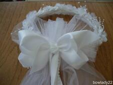 Flower Girl/First Communion Veil attached  to a White Floral Wreath w/Pearls New