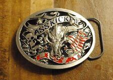 VTG Lip Service Belt Buckle Ass Kickin Skull USA Metal Goth Punk Glam RARE