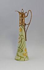 Laiton Céramique carafe Art Nouveau Floral Décor 9973190