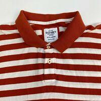 Old Navy Polo Shirt Men's Size 2XL Short Sleeve Orange White Striped Cotton
