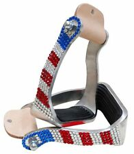 RED WHITE & BLUE BLING ! CRYSTAL RHINESTONE WESTERN HORSE SADDLE STIRRUPS