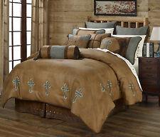 Turquoise Cross Western 7 Pc Super Queen Comforter Bedding Set - Ranch Rustic