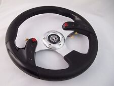 BLACK Steering Wheel with Adapter Ez-go POLARIS Ranger Club car Harley Kubota