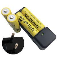 4X 18650 Battery 3.7V 9800mAh Li-ion Rechargeable+4.2V EU Charger for Flashlight
