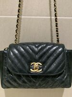 Authentic CHANEL Aged Calfskin Flap Bag With Gold Matel