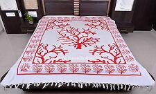 Indian White Bedspread Queen Cotton Wall Hanging Bohemian Tree Print Tapestry