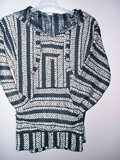 ADULT MEXICAN LARGE GOLD BLACK PULLOVER PONCHO BAJA  BEACH HOODIE  JACKET