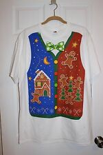 BNWTS Men's tacky ugly  Christmas t-shirt FRUIT OF THE LOOM XL