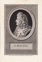 Portrait XVIIIe Jean Racine Dramaturge Théâtre Historiographe du Roi Louis XIV