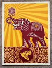 RARE Obey Holiday Peace Elephant print by Shepard Fairey signed and numbered