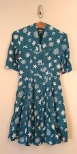 NWT Emily and Fin Rose Dress XXS Teal Snowflakes Retro Modcloth Star Studded