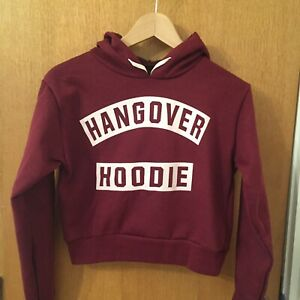 Cropped Maroon Hangover Hoodie Size S/M