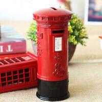 "7"" Vintage London Red Mailbox Piggy Bank Metal Saving Money Coin Box Gift Decor"