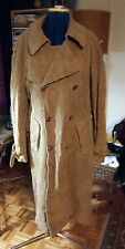 Vintage Holt Renfrew tan brown corduroy belted coat w red tartan print 44 M 8