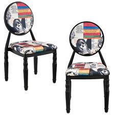 [en.casa]® Chaise rembourrée kit de 2 noir Patchwork bariolé rétro fauteuil