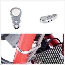 "Silver Chrome Alloy Motorcycle Brake Clutch Cable Wire Clamp Clip For 1"" Handbar"