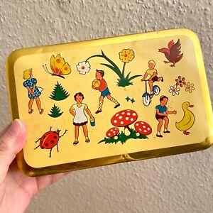 ✅ Alte Kinder Blech-Dose  MONDAMIN 19x12x7cm Fliegenpilz Hamburg Werbung Vintage