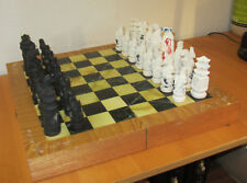 "Vintage Heavy Carved Korean Soap Stone? Chess Set - 19""x19"" Board - 5"" King"