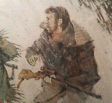 HERB MOTT moose vtg hunting alaska western cowboy art rifle antique painting