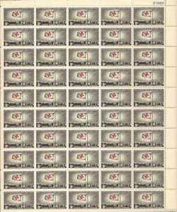 US Stamp 1963 Red Cross Centenary 50 Stamp Sheet #1239