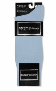 1 Pair of Biagio Solid Light BLUE Color Mens COTTON Dress SOCKS