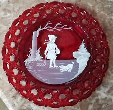 Lacey Edge Plate Handpainted Mary Gregory Girl Ruby Glass - Vintage Westmoreland