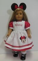 """American Girl 18"""" Minnie Mouse Doll Dress-Pinafore-Ears-Handmade-Kayesew"""