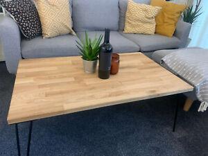 Handmade Rustic Solid Oak Coffee Table  Vintage Steel legs Living Room Home MINT
