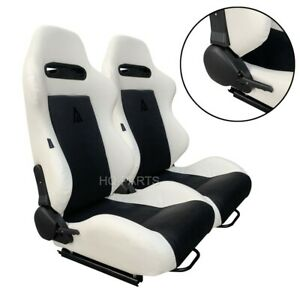 2 X TANAKA WHITE PVC LEATHER BLACK SUEDE ADJUSTABLE RACING SEATS FOR FORD *****