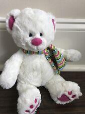 Gund SLOPES Polar Bear White Plush Striped Scarf Pink Nose Inner Ears Foot Pads