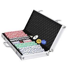 500PCS Poker Chip Set Aluminum Carry Case Texas Hold'em Card Game 4 Holder+5dice