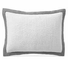 Hotel Collection Cotton Voile King Pillow Sham Quilted 26 X 36'' White Grey Gray