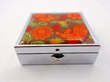 Pill box silver metal 2 compartments birds flower 2 inch square push button dm