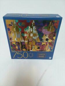 Gold Dore Triangles 750 Piece Jigsaw Puzzle Metallic Gold Geometric Art Colorful