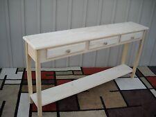 """Unfinished 60"""" Sofa, Console, Beveled Edge Style Pine table w/Shelf & 3 drawers"""